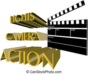 action call - lights camera action call for movie in 3d on...