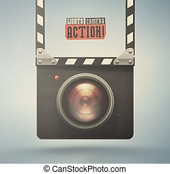 Lights, Camera, Action! - Clapper board and video camera