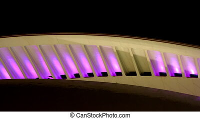 lights changing colours on the roof of the futuristic...