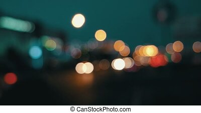 Lights defocused. Blurred street lights in the night
