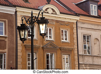 Lights frame Warsaw - Old ornate lanterns in front of the...