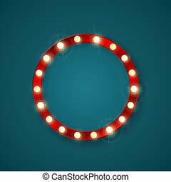 lights., illustratie, vector, retro, spandoek, ronde, het glanzen