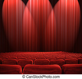 Lights in the auditorium - classic cinema with red seats
