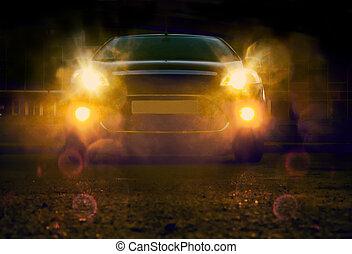 car at night in city