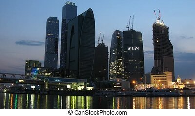 Lights of Moscow International Business Center at evening,...