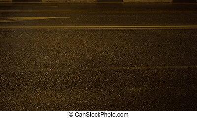 Lights of night city road. Night road close-up.