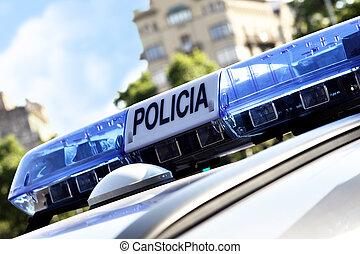 Lights of police car, Barcelona, Spain
