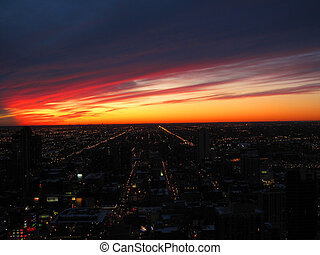 Lights of the city at sunset