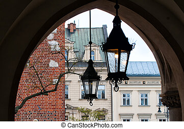 lights on market square in Krakow, Poland