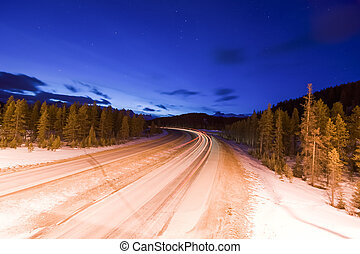Lights on Mountain Road at Night
