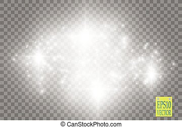 Lights on transparent background. Vector white glitter wave...