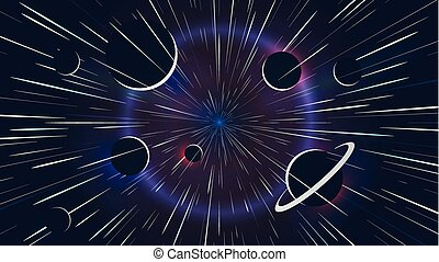 Lights stars flying past at high speed, space adventure