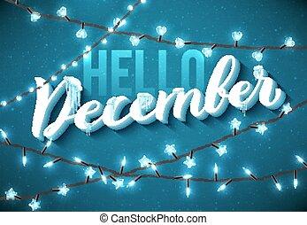 lights., weihnachten, vektor, eiszapfen, dezember, hallo, realistisch, funkeln, plakat