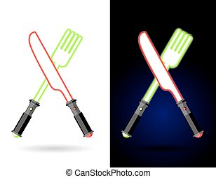 Lightsaber as cutlery. Shiny knife and fork . Accessories for food of future against backdrop of space. Logo for diner and fast food restaurant of future