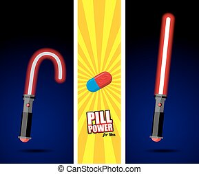 Lightsaber. Pill power for men. Slack sword. light swords. Glowing weapons men. Advertising of sexual impotence. Medication treatment for potency. Mens Sabre sword with  laser power. Comic advertising funds from impotence.