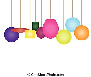 lightshades multi coloured - group of bright pendant lights...