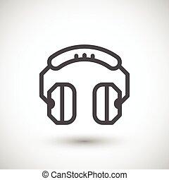ligne, écouteurs, icône