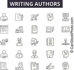 ligne, écriture, mobile, signs., toile, contour, coup, illustrations, editable, auteurs, icônes, concept, design.