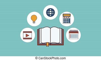 ligne, électronique, animation, hd, livre