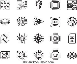 ligne, électronique, icônes