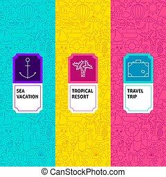 ligne, étiquettes, voyage, paquet