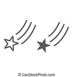 ligne, étoile, linéaire, signe, modèle, espace, arrière-plan., vecteur, nuit, graphiques, icône, blanc, tir, tomber, glyph
