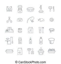 ligne, accessoires, chat, mince, icônes, vecteur
