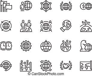 ligne, affaires globales, icônes