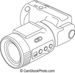 ligne, appareil photo, dessin