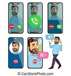ligne, appeler, vector., homme, face., mobile, smartphone, screen., vidéo, voix, bavarder, online., speaking., appeler, application, interface., ligne, bavarder, app., communication., sans fil, parler., illustration