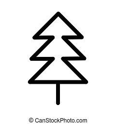 ligne, arbre, noël, mince, icône