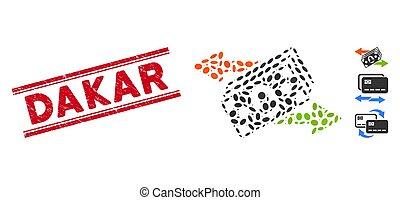 ligne, argent, collage, timbre, dakar, échange, grunge, icône