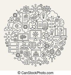 ligne, artificiel, icônes, intelligence, cercle