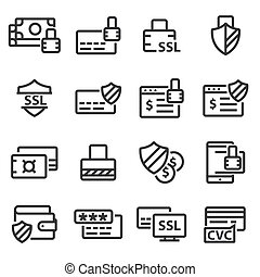 ligne, assurer, icons., paiement