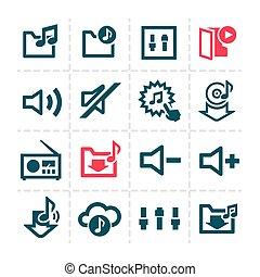 ligne, audio, icônes