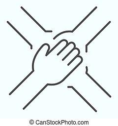 ligne, autre, vecteur, conception, soutien, mince, toile, eps, conçu, style, 10., app., mains, illustration, collaboration, chaque, équipe, isolé, contour, bras, quatre, white., icon.