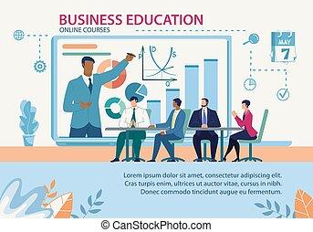 ligne, bannière, flat., education, cours, business