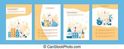 ligne, bannière, set., traitement, pharmacie, médecine, ...