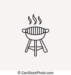 ligne, barbecue, four, icône
