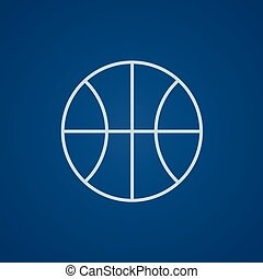 ligne, basket-ball, icon., balle