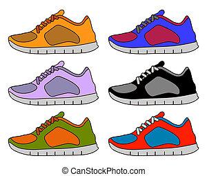 ligne, basket, icône, plat, ensemble, couleur, collection, pictogramme, coup, chaussure, symbole, illustration, minimal