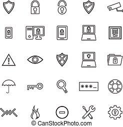 ligne, blanc, sécurité, fond, icônes