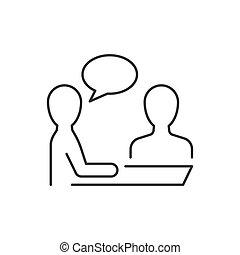 ligne blanche, vecteur, icône, arrière-plan., illustration, entrevue
