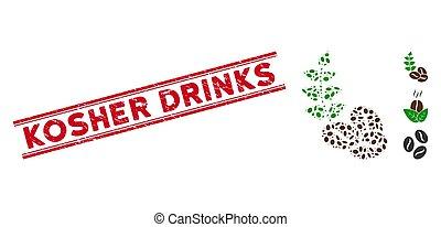 ligne, boissons, grains café, collage, organique, cacher, cachet, grunge, icône