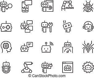 ligne, bot, icônes