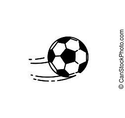 ligne, boule football, icône