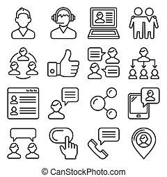 ligne, business, client, vecteur, gens, set., icônes, style