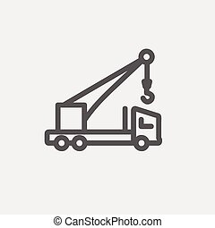 ligne, camion, remorquage, mince, icône