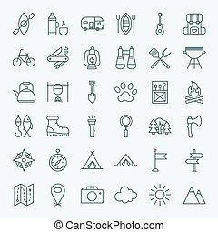 ligne, camping, icônes