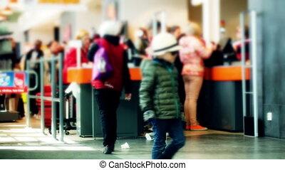 ligne, cashdesks, supermarché